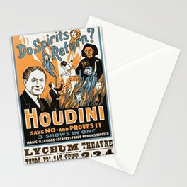 Do spirits return? Houdini says no - and proves it (1909) Stationery Cards