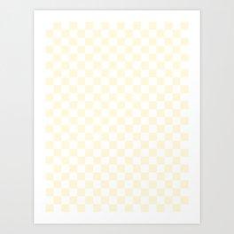 Small Checkered - White and Cornsilk Yellow Art Print