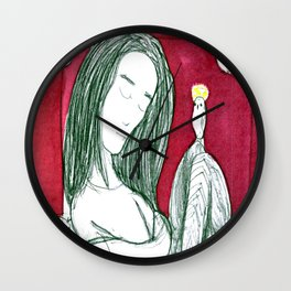 Figure With Owls Wall Clock