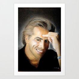 Don Johnson portrait with dry pastels Art Print