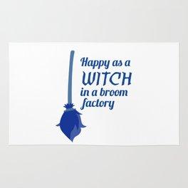 Happy Witch Broom Factory Halloween Design Rug