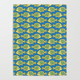 Tropical Fish in Pastel - Doodle Pattern Poster