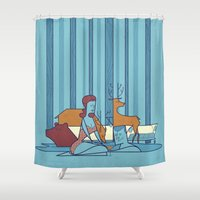 swimming Shower Curtains featuring SWIMMING POOL by Ale Giorgini