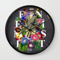 feminist Wall Clocks featuring Feminist by Samwise