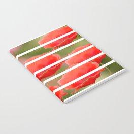Poppies with white stripes #decor #society6 #buyart Notebook