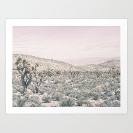 Mojave Pink Dusk // Desert Cactus Landscape Soft Cloudy Sky Mountain Scape Photograph Art Print