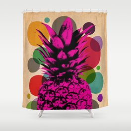 Pineapple_on vintage paper02 Shower Curtain