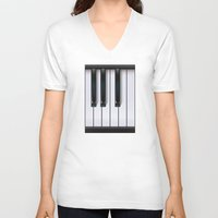 piano V-neck T-shirts featuring Piano by rob art | illustration