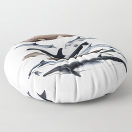 Atlantic whales, dolphins and orca Floor Pillow