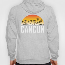 Cancun Mexico Sunset And Palm Trees Beach Hoody