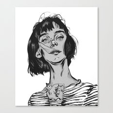 Woman in stripped shirt Canvas Print