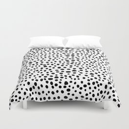 Modern Black and White Hand Drawn Polka Dots Duvet Cover