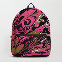 Pink Black Marble with Gold Accent Backpack