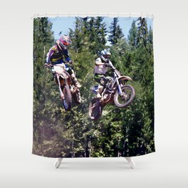 Closing In - Motocross Racers Shower Curtain