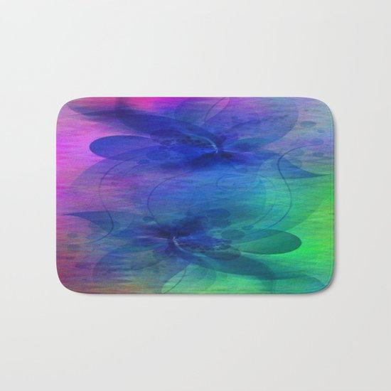 Rainbow Ripples and Ribbons Abstract Bath Mat