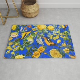 Vintage & Shabby Chic - Night Blue Botanical Bird and Flower Garden Rug