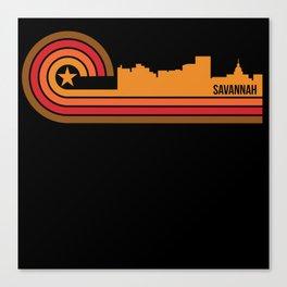 Retro Style Savannah Georgia Skyline Canvas Print