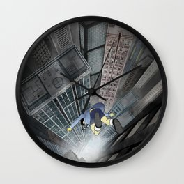 '跳下去的一秒 The Moment While Jumping off' Illustration 3 Wall Clock