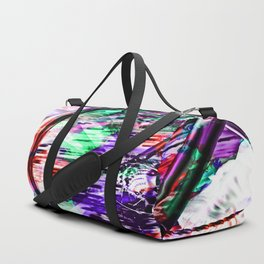 bicycle wheel with colorful abstract background in green red and purple Duffle Bag