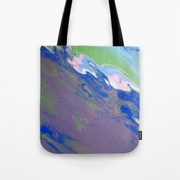 Fluid Art Acrylic Painting, Pour 9, Purple, Green, Blue, White & Pink Blended Colors Tote Bag