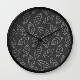 Leaves - gray on gray Wall Clock