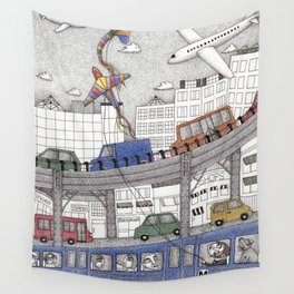 Taking the Red Line Wall Tapestry