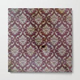 Vintage Antique Eggplant-Colored Wallpaper Pattern Metal Print