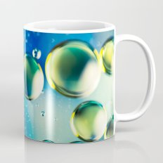 Macro Water Droplets  Aquamarine Soft Green Citron Lemon Yellow and Blue jewel tones Mug