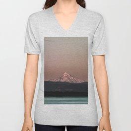 Pastel Peak - Mt. Hood over the Columbia Unisex V-Neck