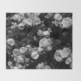 Roses are black and white Throw Blanket