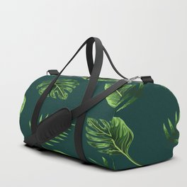 Palm Tree Leaves Green Background Duffle Bag