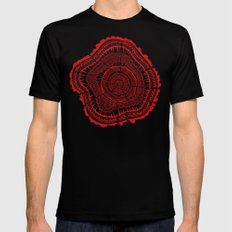 Red Tree Rings Mens Fitted Tee X-LARGE Black