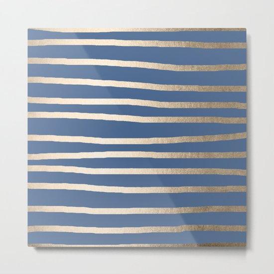 Simply Drawn Stripes White Gold Sands on Aegean Blue Metal Print