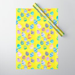 Easter Egg Watercolor Pattern -  Yellow Wrapping Paper