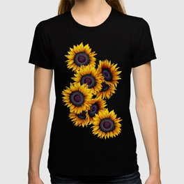 Sunflowers yellow navy blue elegant colorful pattern T-shirt