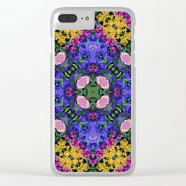 Floral Spectacular: Blue, Plum and Gold - repeating pattern, diamond, Olbrich Botanical Gardens, Mad Clear iPhone Case