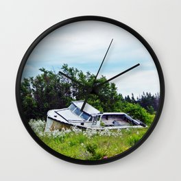 Boat in a Field Wall Clock