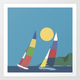 Sails below the coast Art Print
