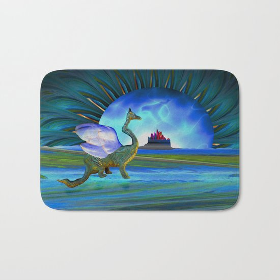 Winged beast and floating castle helps the mind release its shackle Bath Mat