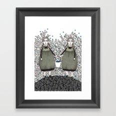Blueberry Pickers Framed Art Print