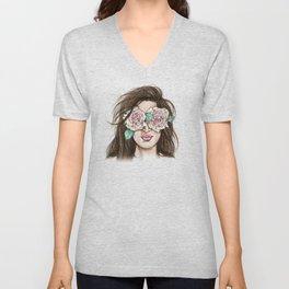 white roses in their eyes (female version) Unisex V-Neck