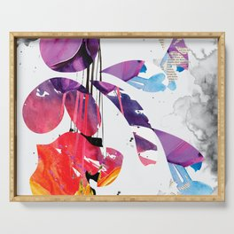 Colorful Grunge Newsprint Serving Tray