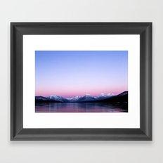 pastel mountain lake sunset Framed Art Print
