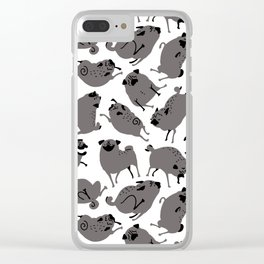 Peppy Black Pug pattern - black and white Clear iPhone Case