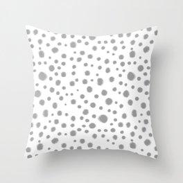 Grey spots dots minimal modern abstract painting Throw Pillow