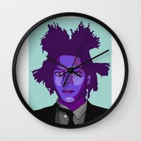 basquiat Wall Clocks featuring Basquiat by Grace Teaney Art