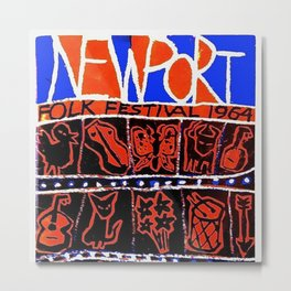 Vintage 1964 Newport Folk Festival Advertisement Poster Metal Print