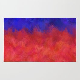 Red Pink Blue Color Explosion Abstract Rug