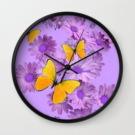 Yellow Butterflies Pinkish Lilac Color Purple Daisy Flowers Wall Clock