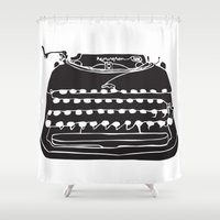 typewriter Shower Curtains featuring Typewriter  by Gemma Bullen Design